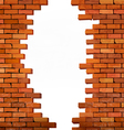 Vintage brick wall background with hole vector image