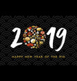 2019 chinese new year pig gold sign card vector image