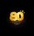 80 number icon design with golden star and glitter vector image vector image