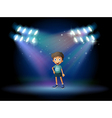 A stage with a young actor at the center vector image vector image