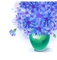 bluebottle bouquet in vase vector image vector image