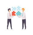 businessmen connecting puzzle elements teamwork vector image