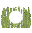 cactuses frame background green succulent hand vector image vector image