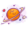 cartoon space with saturn and planets vector image