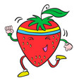 character of strawberry cartoon style vector image vector image