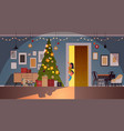 children peeking out from behind door living room vector image vector image