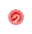 chinese dragon ornament china coin medallion logo vector image