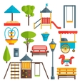 City Park Flat Elements Set vector image