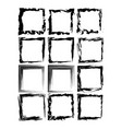 collection black grunge rectangle empty frame vector image