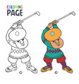 coloring page with golf player cartoon vector image