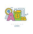 creative hobby logo template reading concept vector image