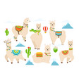 cute alpaca and llama witn mountains vector image vector image