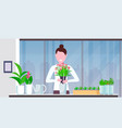 cute girl housewife transplanting plant into new vector image vector image
