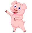 Cute pig cartoon presenting vector image vector image