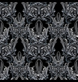 damask floral seamless pattern black white vector image