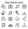 data sharing icon set in thin line style vector image vector image