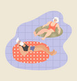 elderly couple floating on inflatable circles vector image