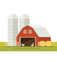 Farm and barn for storing grain in a flat style vector image