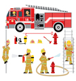 fire truck and fireman yellow 2 vector image vector image