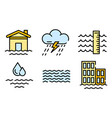 flood icons flat vector image vector image