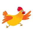 Funny cartoon red and orange chicken hen rushing vector image vector image