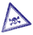 grunge textured skull death triangle stamp seal vector image