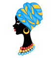 head a sweet lady a bright shawl and a turban vector image vector image