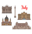 Italian travel landmarks and sightseens vector image