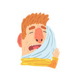 man suffering from toothache pain and pressing his vector image vector image