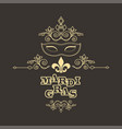 mardi gras caption with carnival mask in mono line vector image