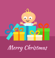 Merry Christmas and Smiling Baby with Gifts vector image vector image