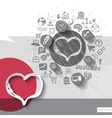 Paper and hand drawn heart emblem with icons vector image