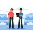 policeman write fine police officer in uniform vector image vector image