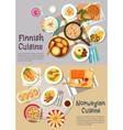 Popular dishes of finnish and norwegian cuisines vector image vector image