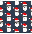 pug in santa claus costume seamless pattern vector image vector image
