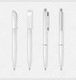 realistic white pen icon set corporate vector image vector image
