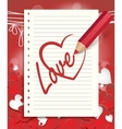 red pencil draws a heart vector image vector image