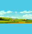 rural landscape with farm houses windmills barns vector image