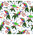 seamless pattern with parrot forest pattern vector image