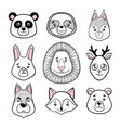set of cute animal faces black white panda vector image vector image