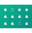 Shopping bag icons on green background vector image vector image