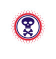 skull and bones icon isolated on white background vector image