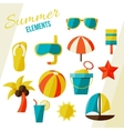 Summer elements isolated on white vector image