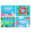 summer sale banner summer pool deal flyer fancy vector image
