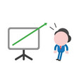 surprised businessman character with arrow moving vector image