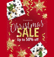 the christmas sale red banner for web or flyer vector image vector image