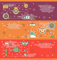 thin line art car parts web banner template vector image