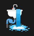 washbasin clogged with water leaking out sink vector image vector image