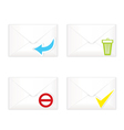 White closed envelopes with trash mark icon set vector image vector image