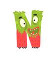 cartoon character monster letter n vector image